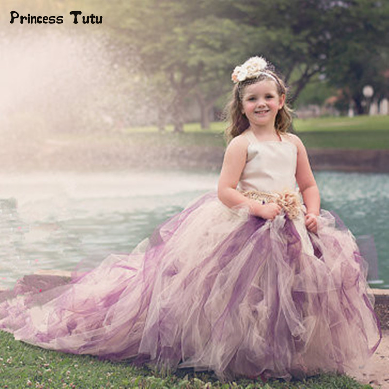 Baby Girls Long Trailing Evening Dress Formal Flower Tulle Tutu Dress For Children Kids Pageant Festival Party Wedding Dresses girls champagne short front long back flower girl dress for wedding trailing formal party vestidos girls clothes 2017 skf154024