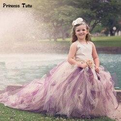 Baby Girls Long Trailing Evening Dress Formal Flower Tulle Tutu Dress For Children Kids Pageant Festival Party Wedding Dresses