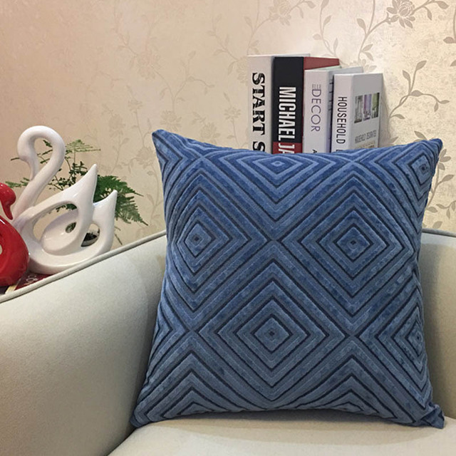 Navy Diamond corduroy Throw Pillow 4