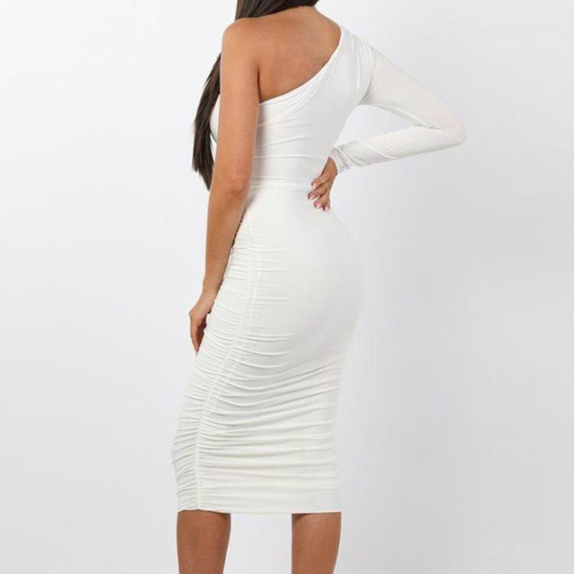 Women Elegant Fashion Sexy White Cocktail Party Slim Fit Dresses One Shoulder Belted Ruched Design Bodycon Midi Dress