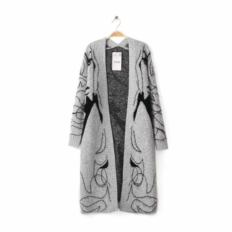 ВЕСНА Новинка 2018 женский длинный красивый портрет Печать вязаный длинный серый свитер кардиган Тренч SW147