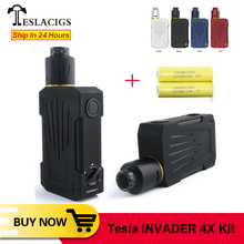 מקורי טסלה Invader 4X VV ערכת עם 5 רמות משתנה מתח & יחיד סליל לבנות סיפון 25mm RDA Vape VS טסלה וואי TC תיבת Mod
