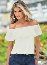 Sexy Women new Fashion Casual Boho Off Shoulder Slash Neck Shirt Summer Loose Flouncing Solid Tops