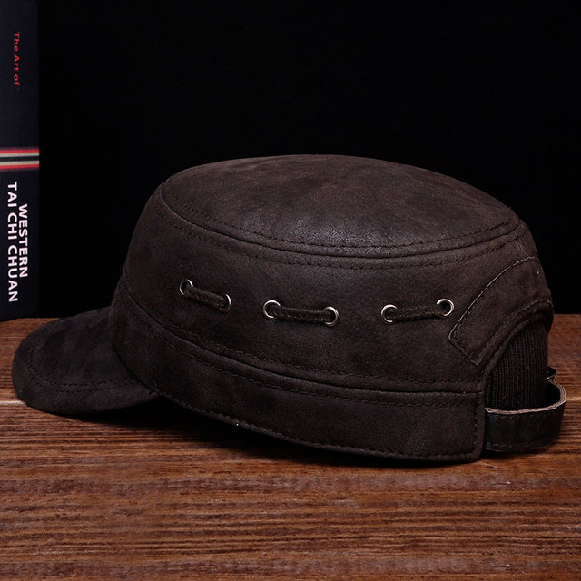 HL086 New brand new winter warm Russian real leather caps hats  genuine leather baseball caps