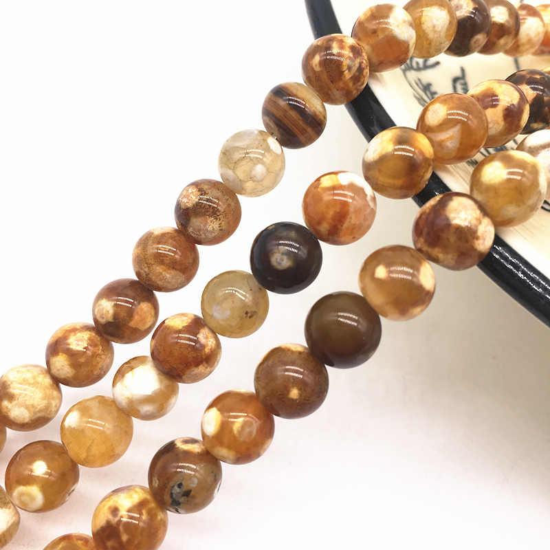 Großhandel 6/8/10mm Natürliche Stein Perle Schwarz Lava Tiger Auge Groß Matte Lose Stein Perlen Für machen Armband Halskette Schmuck #14