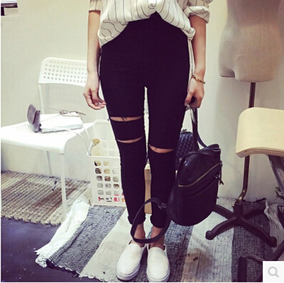 2018 New Fashion Womens Casual Black High Waist Torn   Jeans   Ripped Hole Knee Skinny Pencil Pants Slim Denim   Jeans   Women
