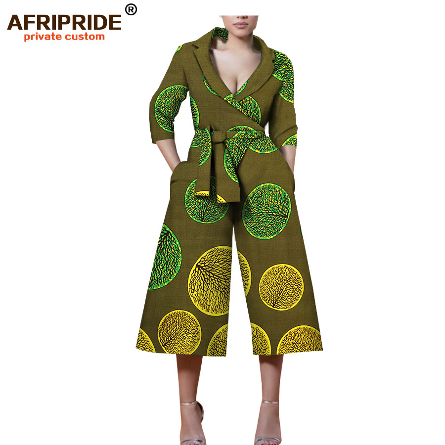 2018 africa print high street jumpsuit for women AFRIPRIDE three quarter sleeve mid calf length wide leg pants jumpsuit A1829007 in Africa Clothing from Novelty Special Use