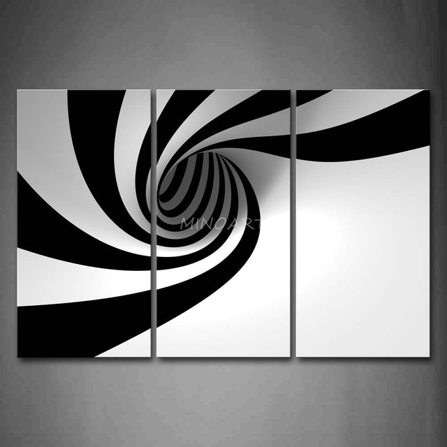 Black And White Photography Wall Art 3 piece black and white wall art painting grey black white hole