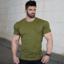 Summer Mens Brand Cotton Short Sleeve Shirts Fitness bodybuilding gyms workout Crossfit Slim Fit