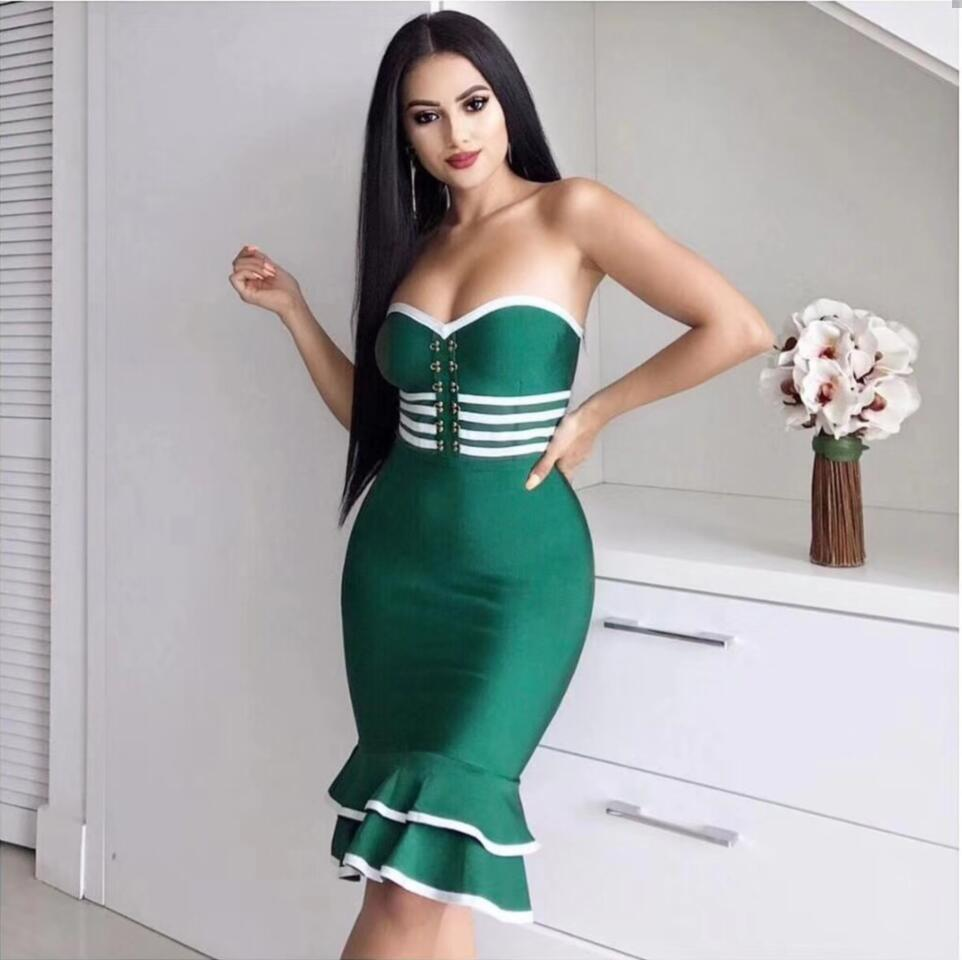 Top Quality Sexy Strapless Ruffles Green Black patchwork Mermaid Bandage Dress Knitted Party Sexy knee-length Dress D-65