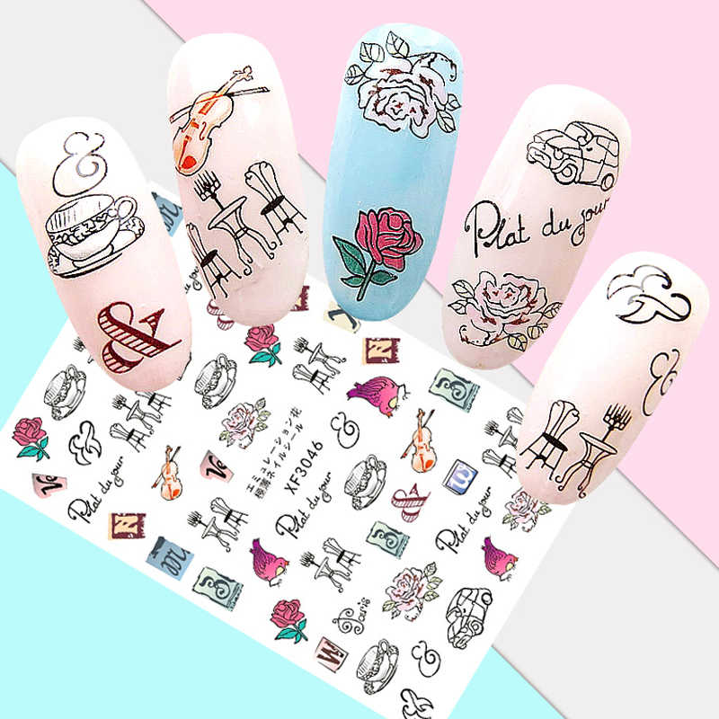 Stickers For Nails Manicure Peony Flower Coconut Perfume Nail Sticker DIY Girl Decals Nail Accessories Japanese Nail Art
