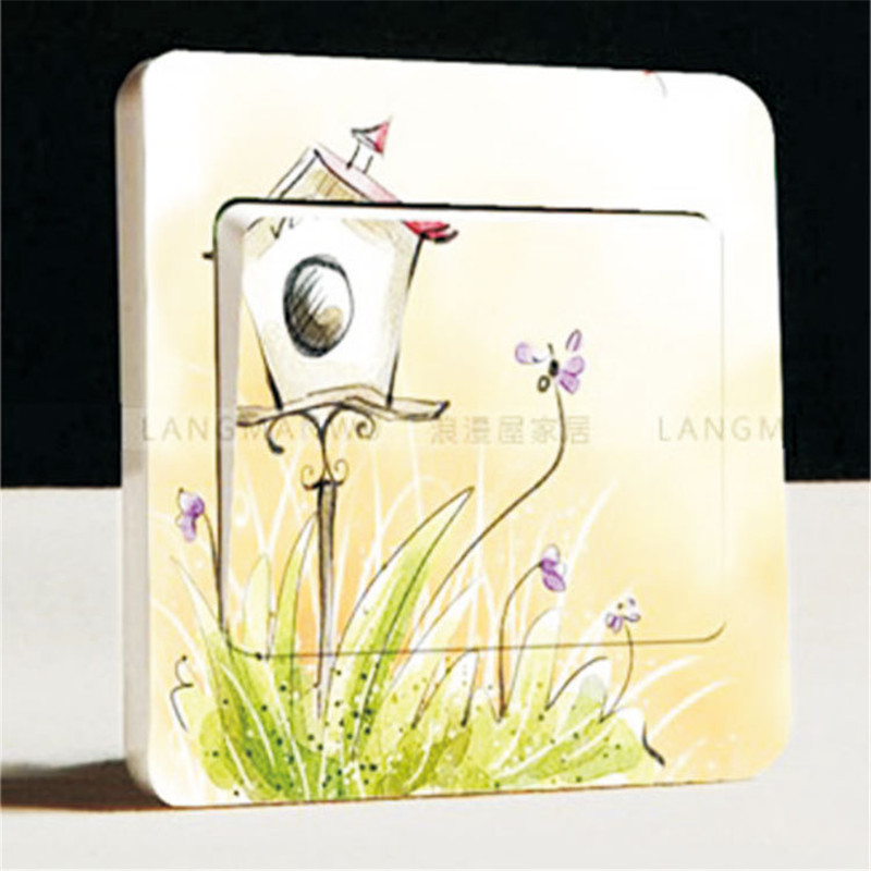 Purple Violet Lavender Garden Style Switch Stickers Cute Cartoon Wall Switch Stickers Room Home Decoration Girl Bedroom sticker