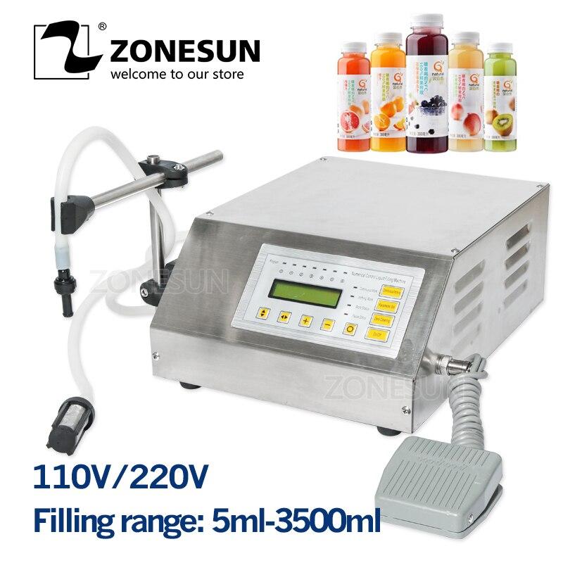 ZONESUN 5-3500 ml Machine de remplissage liquide de boisson molle d'eau contrôle numérique GFK160 eau huile parfum lait petite bouteille de remplissage