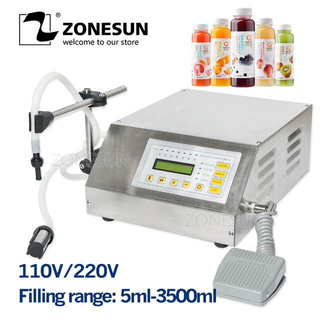 ZONESUN 5-3500 ml Softdrink Liquid Filling Machine ดิจิตอลควบคุม GFK160 น้ำมันน้ำหอมนมขวดขนาดเล็ก Filler