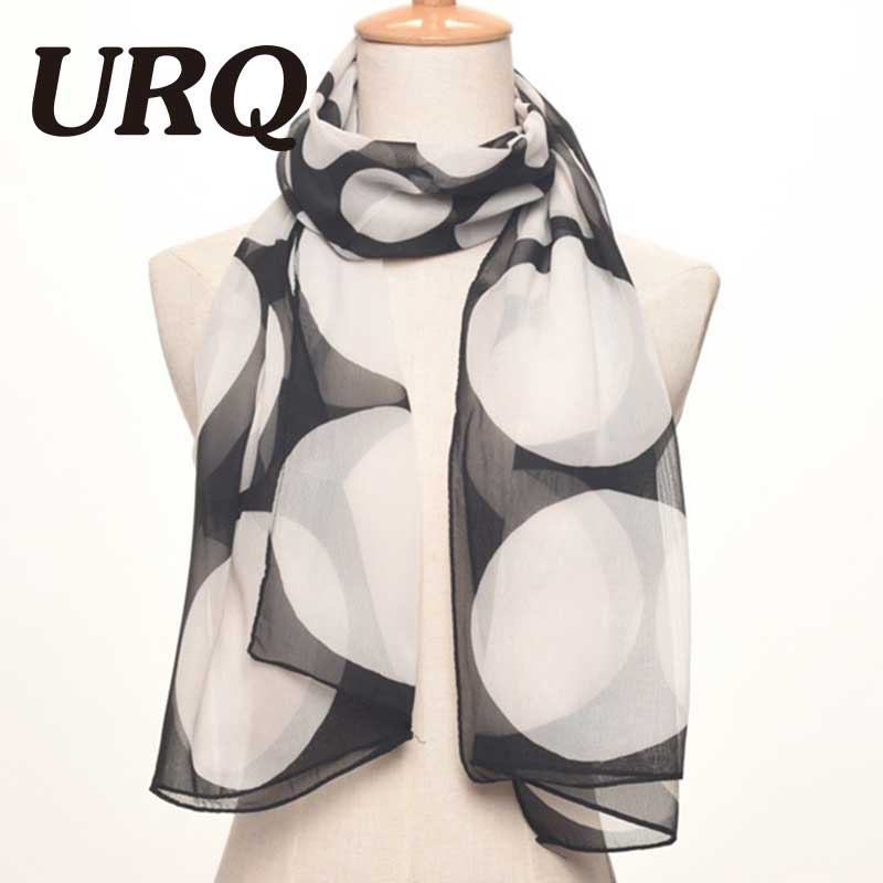 Chiffon Silk scarves Spring fashion Polka dot prints womens scarves wraps Foulard P5A16419