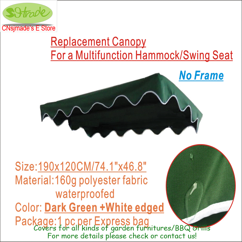 Replacement Canopy 190X120cm 74 8 x47 24 for a Multifunction Hammock Swing Seat frame and cushions