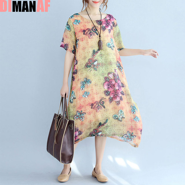 d676446d87f970 DIMANAF Zomerjurk Vrouwen Bloemenprint Vrouwelijke Casual Patroon Chinese  stijl Tonen Dunne Mode Jurken Elegante Big Size