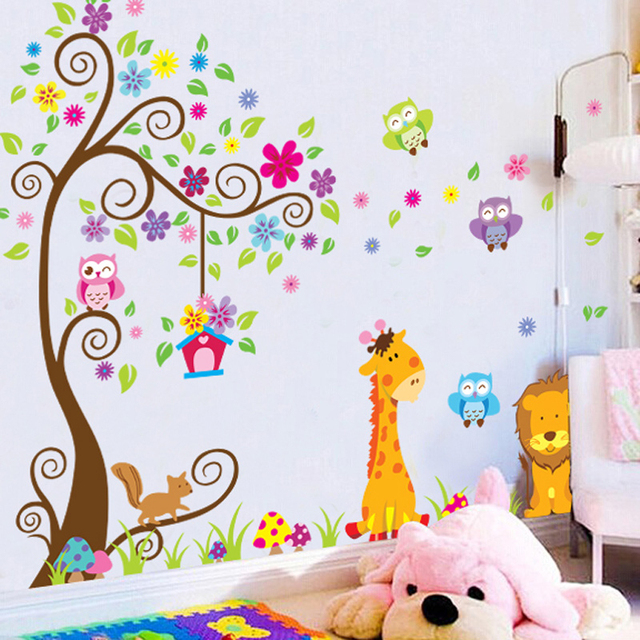 Diy giraffe lion owl birds tree wall sticker for kids baby nursery rooms children bedroom kindergarten