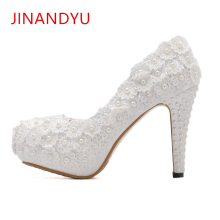 цены White Lace Pumps Women High Heels Platform Shoe Fashion Sweet Pearls Flower Wedding Shoes Bride Dress Shoes Woman High Heel 2019