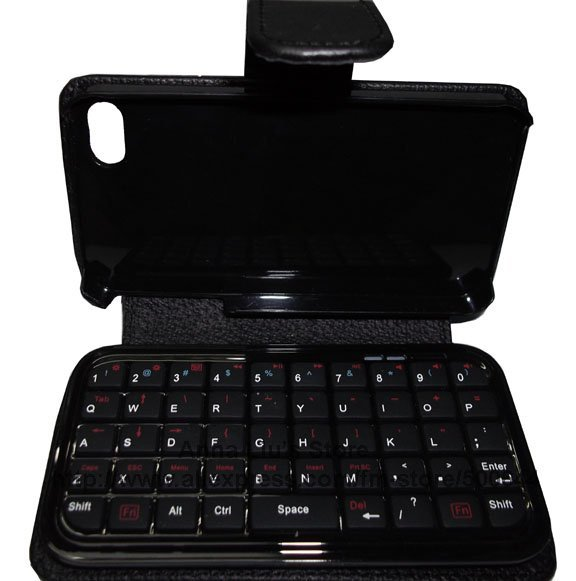 New Arrival Mini Bluetooth Keyboard with Leather Case for iPad/iPhone 4.0 OS/PS3/Smart Phone/PC/HTPC & Free Shipping