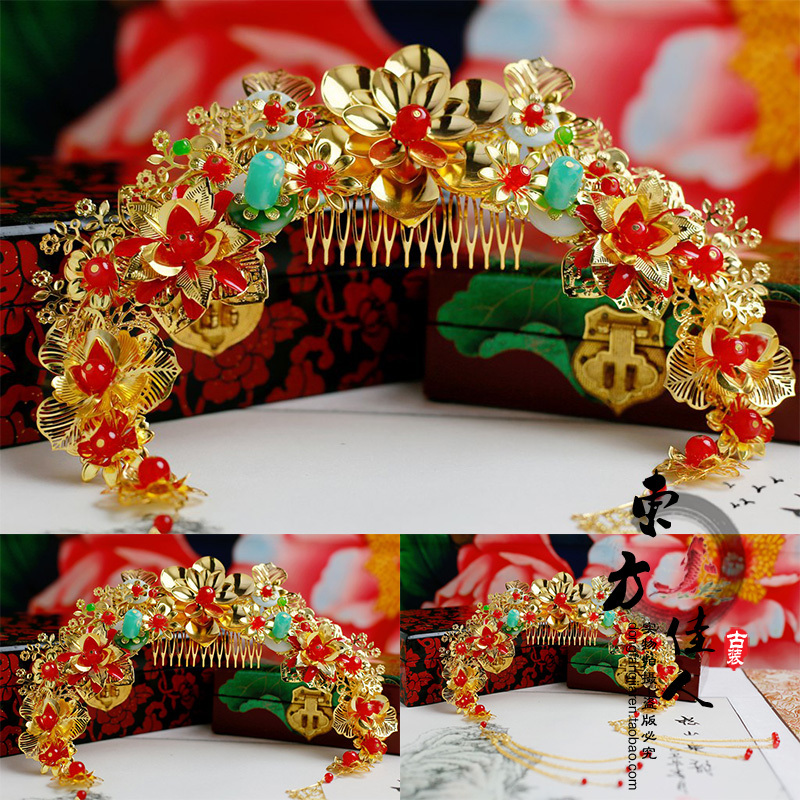 Golden Flower Hair Comb Hair Tiaras with Tassel hair jewelry for Wedding Bride 5 inch hair comb for pets cats
