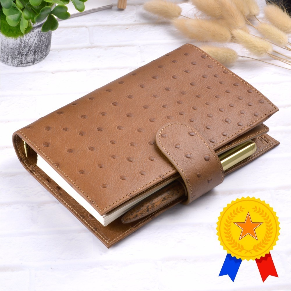 Personal Size Genuine Leather Notebook Handmade Cowhide Spiral Agenda Binder Diary Journal Sketchbook Planner With Money Pocket