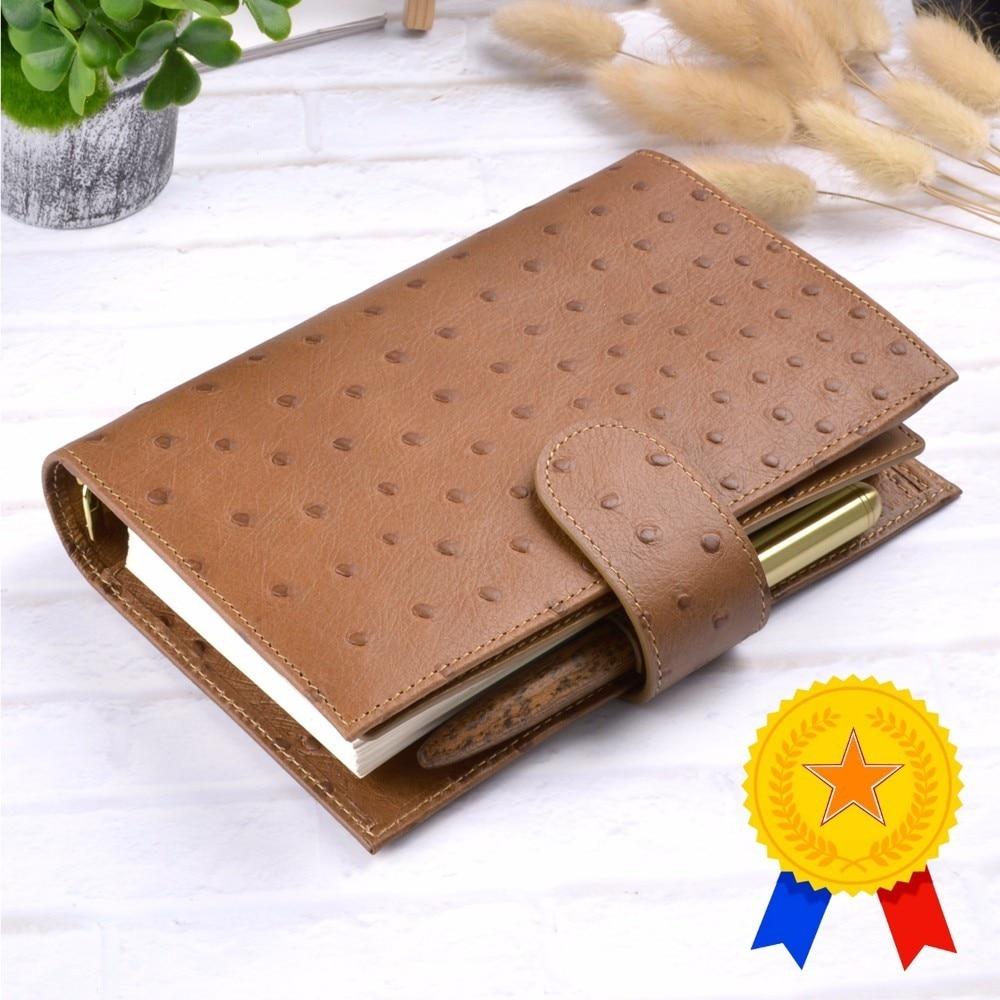 Personal Size Genuine Leather Notebook Handmade Cowhide Spiral Agenda Binder Diary Journal Sketchbook Planner With Money Pocket