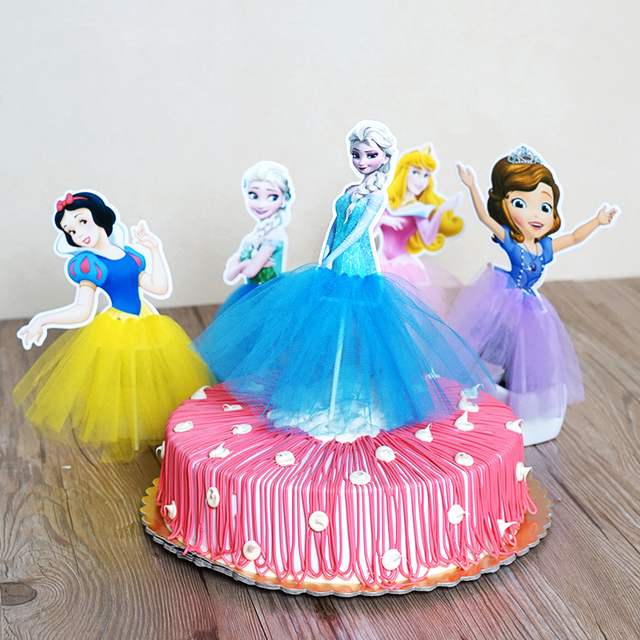 Sopphia/ Cinderela/ Snnow White/ Snow Queenn Birthday Decoration Cupcake/Cake Topper Picks With Dress Party Supplies
