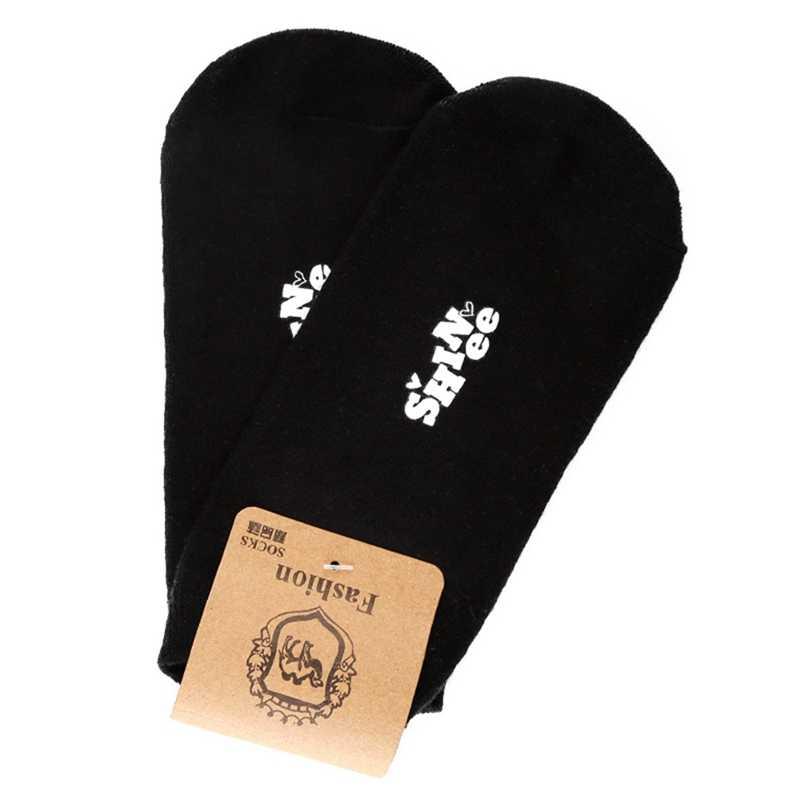 TWICE BLACKPINK MONSTA X IKON черные с буквенным принтом тонкие хлопковые невидимые носки по щиколотку