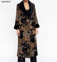 WISHBOP 2017 Autumn Woman Fashion floral PRINT DEVORE VELVET KIMONO Faux fur collar BELT TIED long sleeves contrasting cuffs
