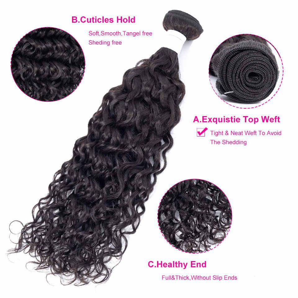 Jarin Water Wave Hair 3 Bundles With Closure 13x4 Frontal Brazilian Hair Weave Bundles With Frontal Natural 100% Human Hair Remy