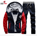 2016 Brand 2PCS Winter Thick Velvet Sweatshirt Men Set Patchwork Hoodies Tracksuit Sweat Suits Mens Hoodies And Sweatshirts 5XL