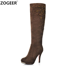 ZOGEER Top Quality 2018 New Fashion Women Boots Sexy High Heels Knee High Boots Flock beading Rose Embroider Ladies Shoes Woman