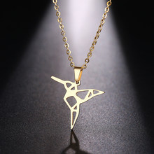 DOTIFI ожерелье из нержавеющей стали для женщин и мужчин, летающая птица золотистого и серебристого цвета, ожерелье с кулоном, ювелирные издел...