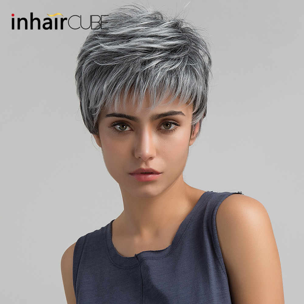 Esin Short Hair Wig Pixie Cut Light Grey Ombre Highlights Side Bangs Synthetic Straight For Women 2 Colors