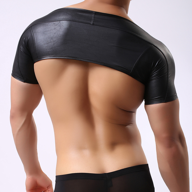 Fashion Brand 2017 Fake Leather Man Sexy Fitness Bodybuilding Crop Tank Tops/Gay Addicted Funny Compression Half Vest