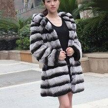 2017 new hot women's autumn winter real rex rabbit fashion coat with hoody slim female Chinchilla Fur color jacket belt CW3082