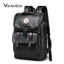 VELALISCIO Backpack Leather Laptop Travel 15inch Waterproof USB College Bookbag Men mochila hombre
