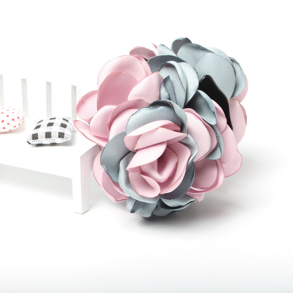 8 Cm Kecantikan Pita Dua Tone Flower Jaw Klip Jepit Rambut Bunga Cantik Cakar Untuk Wanita Gadis Headwear Aksesoris Di Dari