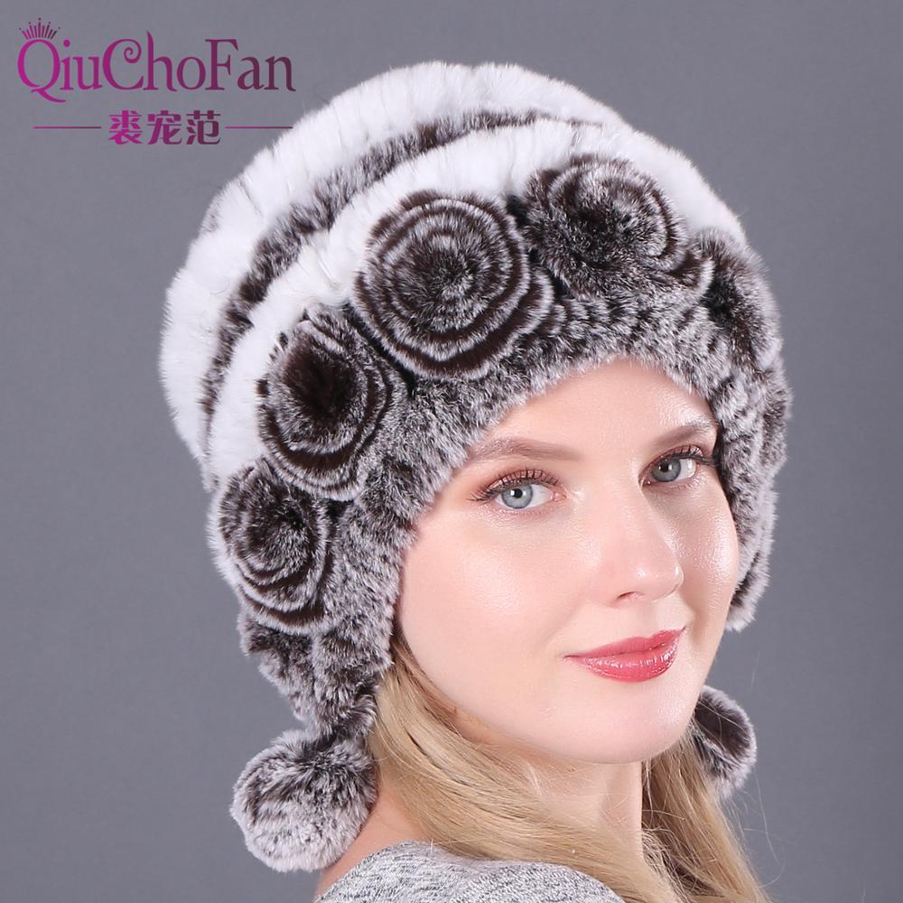 Natural Soft Knitted Rex Rabbit Fur Hat Russia Women Winter 100% Genuine Rex Rabbit Fur Caps Lady Warm Real Rex Rabbit Fur Hats 1
