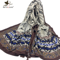 [Marte&Joven] Retro Bohemia Style Floral Print Scarf and Wrap for Women190*90 cm Oversized Oblong Shawl Foulard