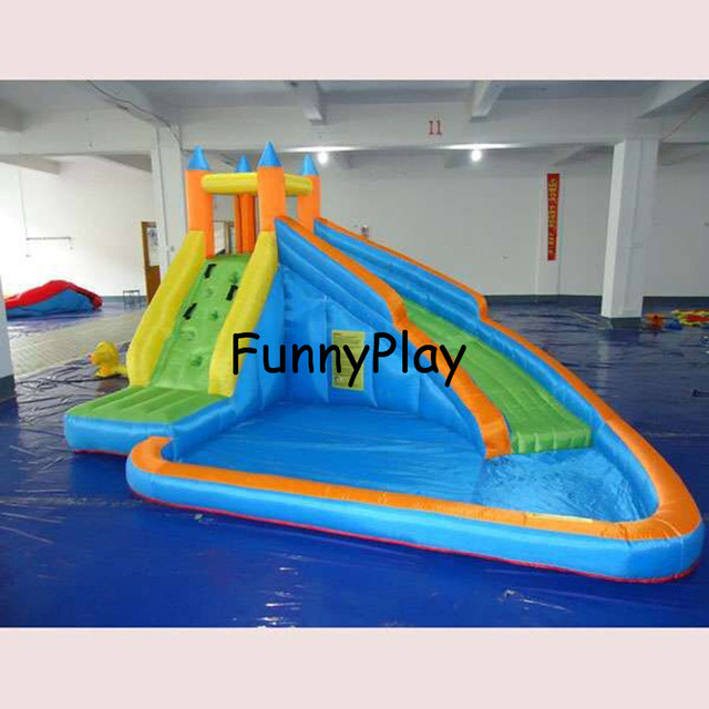 Inflatable slide bouncer with pool and free ce blower - Wasserrutsche fur pool ...