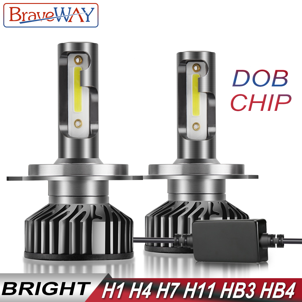 BraveWay DOB Puce LED Glace Lampes pour Auto H1 H4 H7 H8 H11 HB3 HB4 9006 9005 Ampoules phare LED H7 Canbus 72W 12000LM 12V