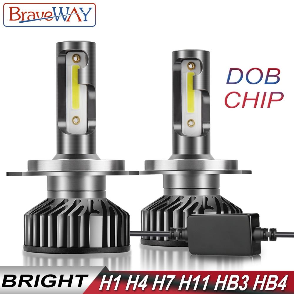 BraveWay DN Chip de Gelo LEVOU Lâmpadas para Auto H1 H4 H7 H8 H11 HB3 HB4 9006 9005 Lâmpadas LED farol H7 Canbus 72W 12000LM 12V