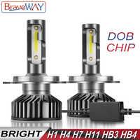 BraveWay DOB Chip LED Ice Lamps for Auto H1 H4 H7 H8 H11 HB3 HB4 9006 9005 Light Bulbs LED Headlight H7 Canbus 72W 12000LM 12V