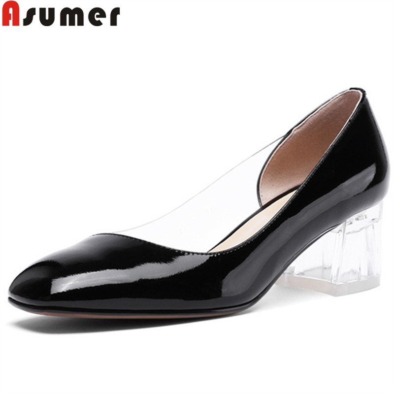 ASUMER 2019 hot sale new spring autumn new shoes woman square toe shallow pumps women shoes genuine leather high heels shoes ASUMER 2019 hot sale new spring autumn new shoes woman square toe shallow pumps women shoes genuine leather high heels shoes