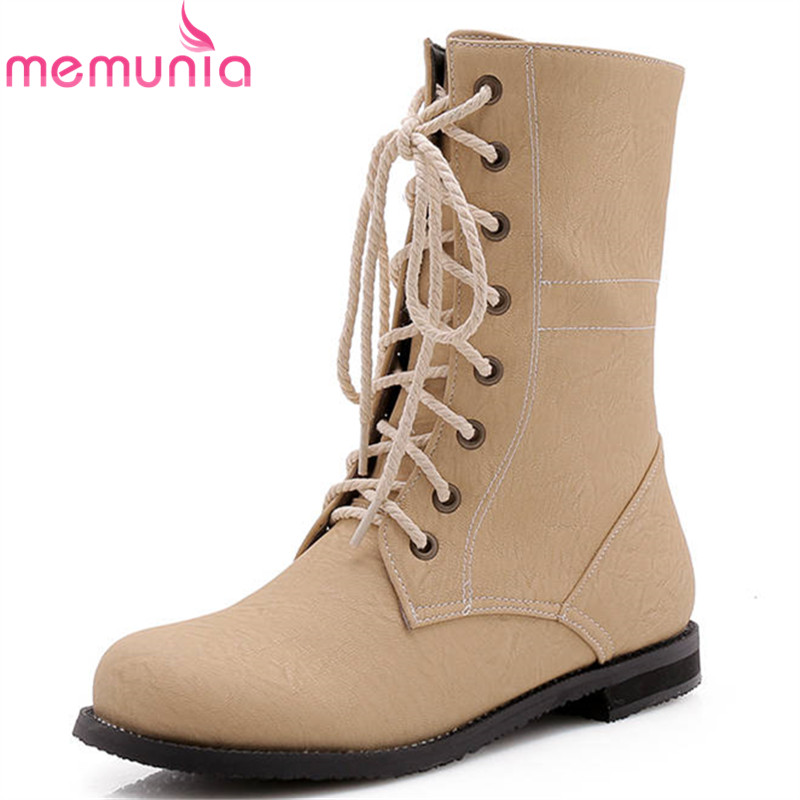 MEMUNIA 2018 3 colors ankle boots for women round toe autumn winter boots lace up flat shoes woman fashion Martin boots female 2016 leather shoes female autumn winter new flat heel round toe ankle boots tide martin boots women flat bottomed tassel boots