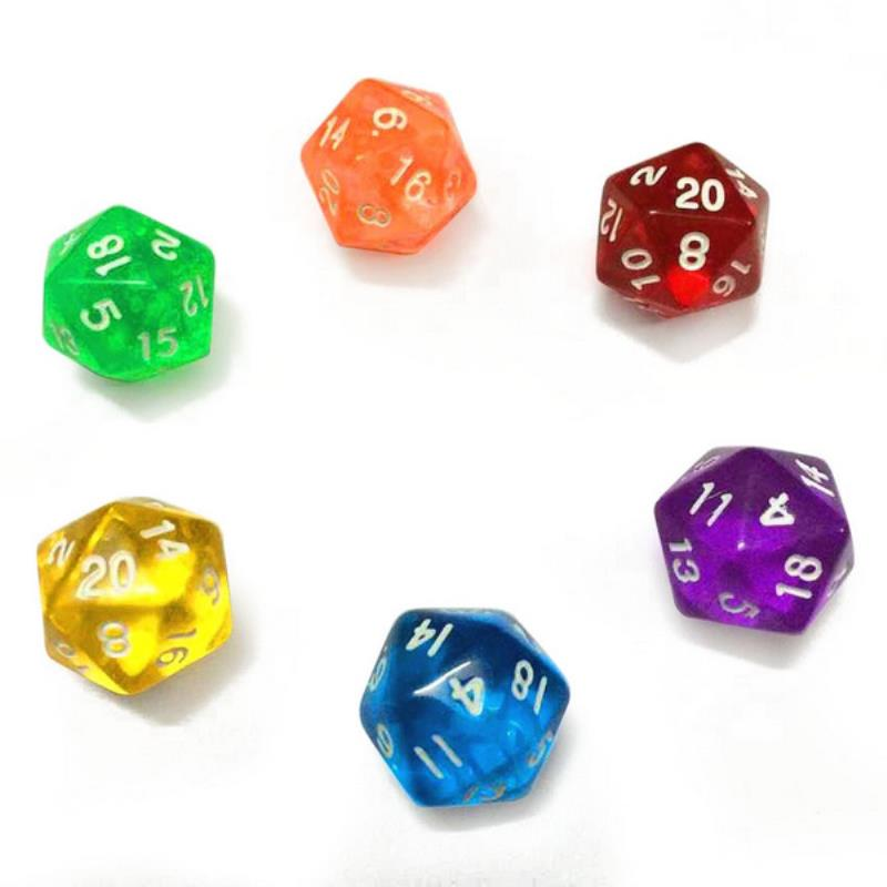 6pcs D20 Twenty Sided Dice TRPG Table Board Games Dungeons & Dragons Clear Gambling Dice Set Colorful Family Party Outdoor Tool