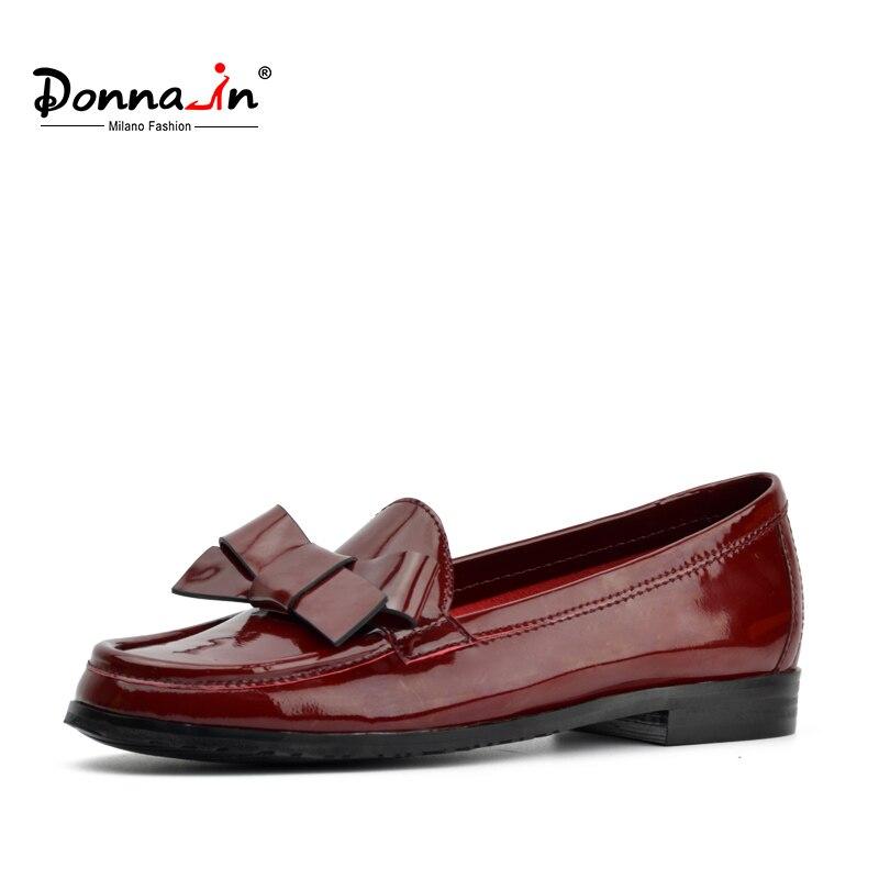 Donna 2019 แฟชั่นสิทธิบัตร bowknot แบนรองเท้าหนังแท้รองเท้าสบายๆรอบ toe loafers สบายรองเท้าผู้หญิง-ใน รองเท้าส้นเตี้ยสตรี จาก รองเท้า บน   1