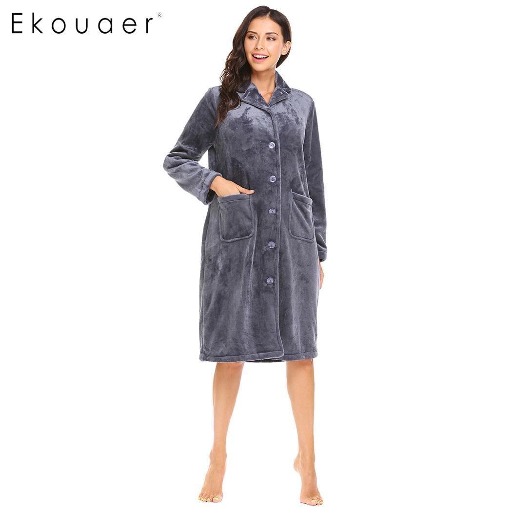 Ekouaer Femmes Hiver Peignoir Vêtements De Nuit Chaud Doux Vêtements De Nuit Col à Revers Manches Longues Bouton Peluche Peignoir Femmes Vêtements À La Maison
